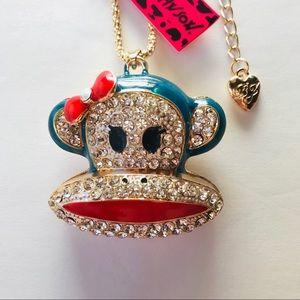 Huge Blue Sock Monkey Head Necklace